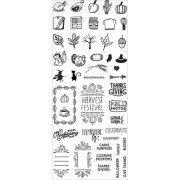 Carimbo de Silicone Planner - Outono - Clear Stamps - 46 Itens