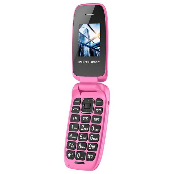 Celular Flip Up Dual Chip Rosa P9023 - Multilaser