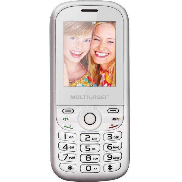 Celular Up 2 Chip Quadriband Cam Mp3 Mp4 Fm P3293 Branco Rosa - Multilaser