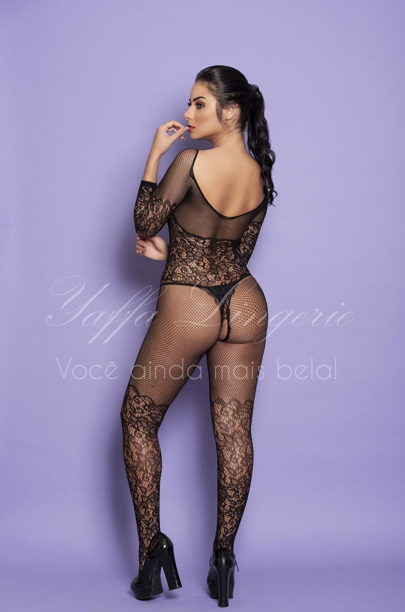 Macacão Rendado Bodystocking Yaffa