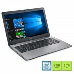 "Notebook Acer F5-573-723q Intel Core i7/ 8GB RAM/ HDD 1TB/ Tela LED 15.6""/ DVD-RW/ Windows 10 - Prata"