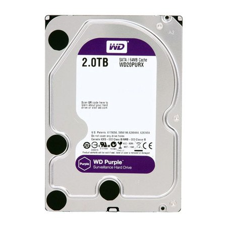 HD WD SATA 3,5´ Purple Surveillance 2TB IntelliPower 64MB Cache SATA 6.0Gb/s - WD20PURX