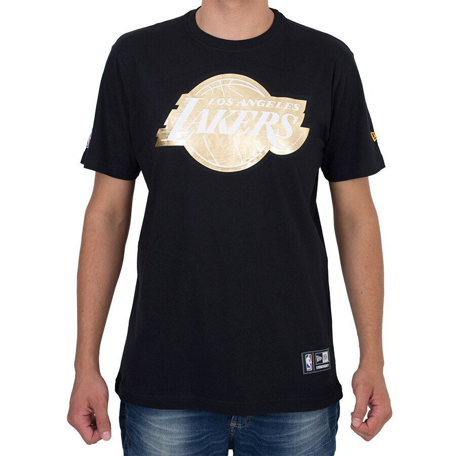 Camiseta New Era Los Angeles Lakers Preta / Dourada