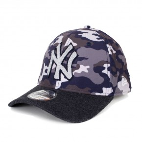 Boné New Era 39Thirty New York Yankees Aba Curva Cinza / Preto