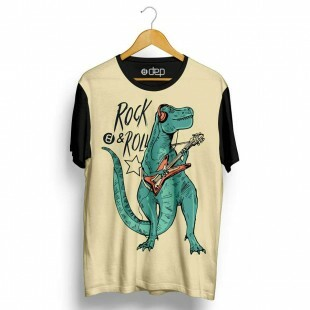 Camiseta Dep Dinossauro Rock and Roll Bege