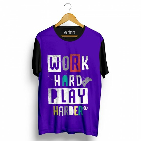 Camiseta Dep Work Hard Play Harder Roxa