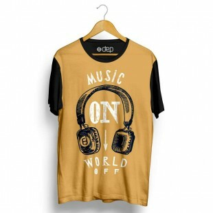 Camiseta Dep Music On World Off Marrom
