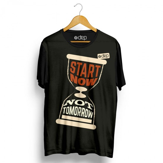 Camiseta Dep Ampulheta Start Now Not Tomorrow Preta
