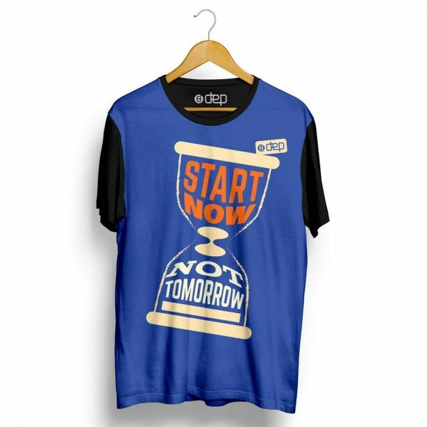 Camiseta Dep Ampulheta Start Now Not Tomorrow Azul