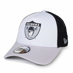 Boné New Era Snapback Oakland Raiders Trucker Aba Curva Branco