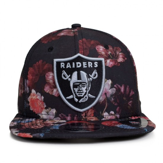 Boné New Era Snapback Oakland Raiders Floral Original Fit Preto