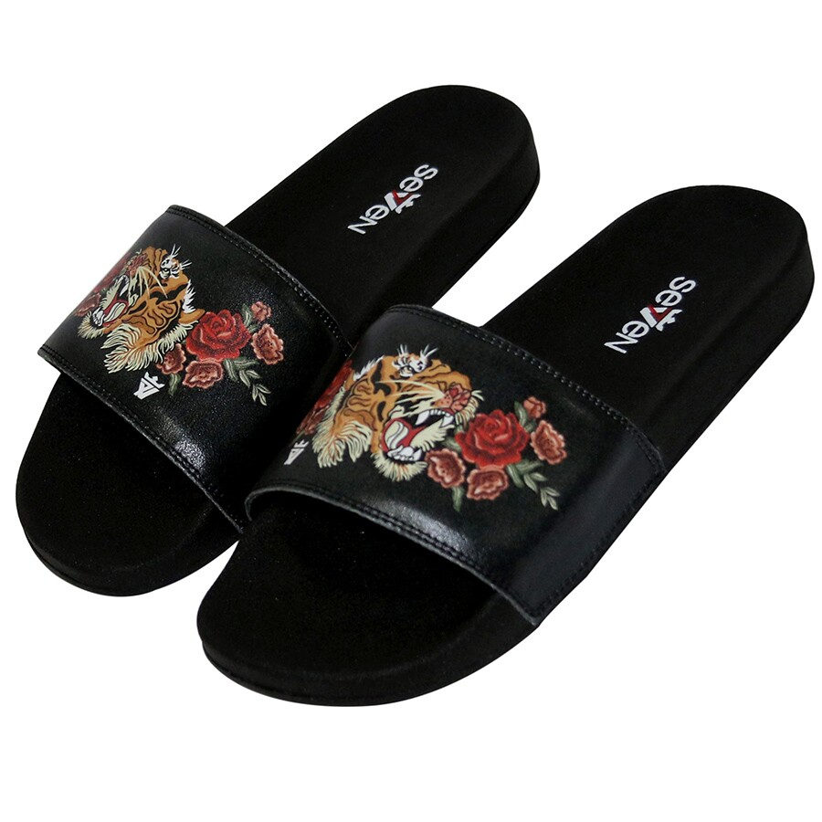 Chinelo Seven Brand Flowers Tiger Preto