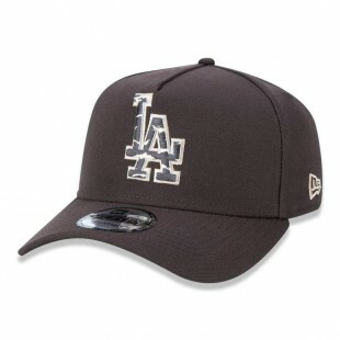 Boné New Era Snapback Los Angeles Dodgers Aba Curva Marrom