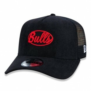 Boné New Era Snapback Chicago Bulls NBA Aba Curva Trucker Preto