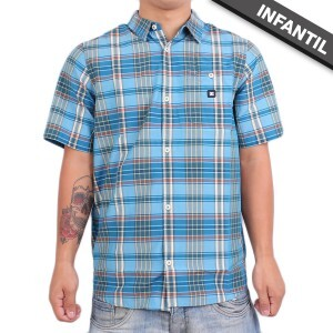 Camisa DC Shoes Infantil Dignan Chess Blue