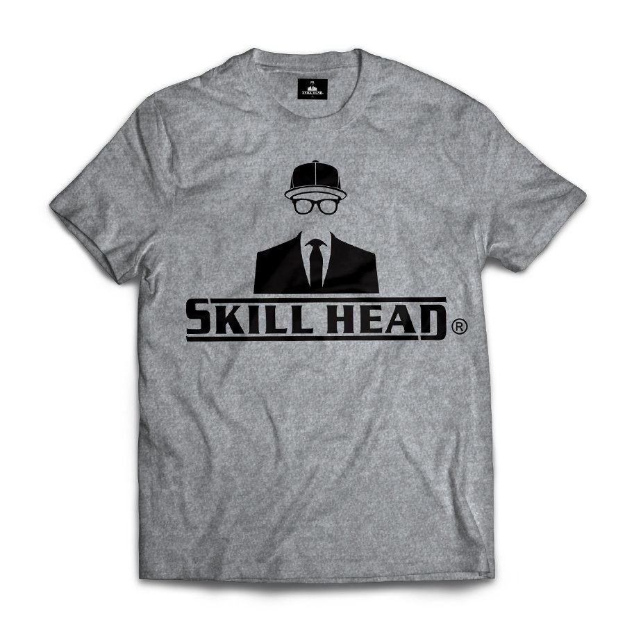 Camiseta Skill Head Logotipo Cinza