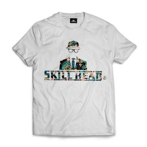 Camiseta Skill Head Logotipo Floral Branco