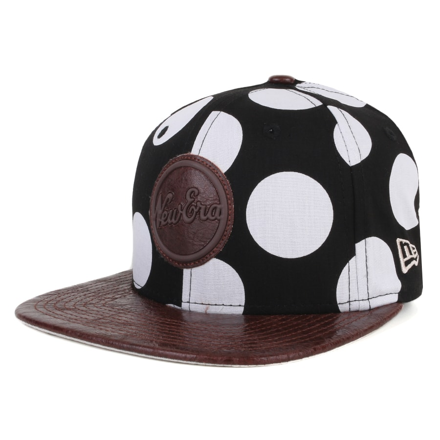 Boné New Era 9Fifty Original Fit Strapback Script Preto/Branco/Marrom