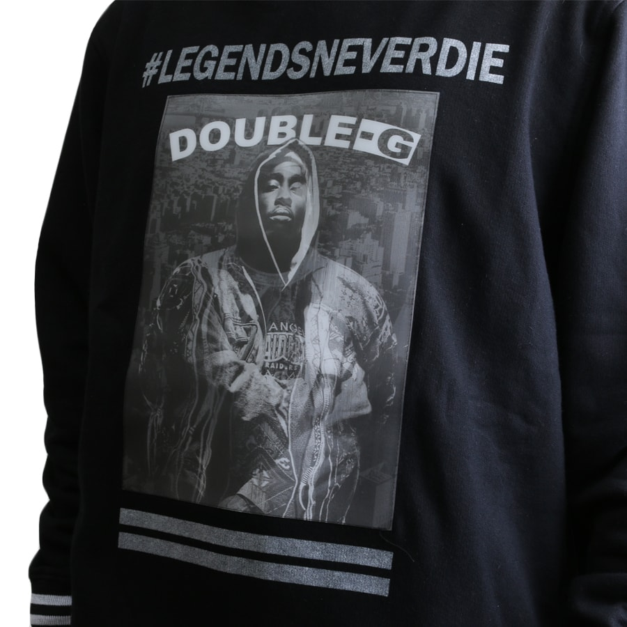 Moletom Double-G Legends Never Die Imagem Sobreposta 3D Preto