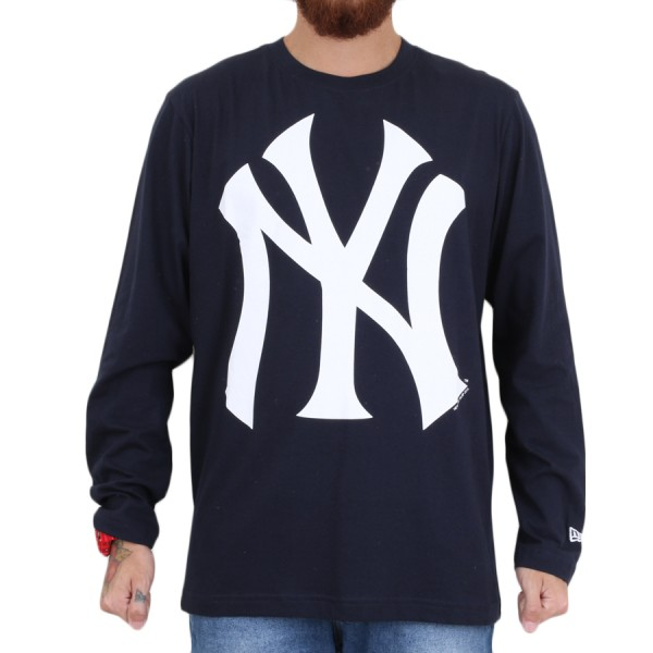 Camiseta New Era Manga Longa New York Yankees Azul Marinho