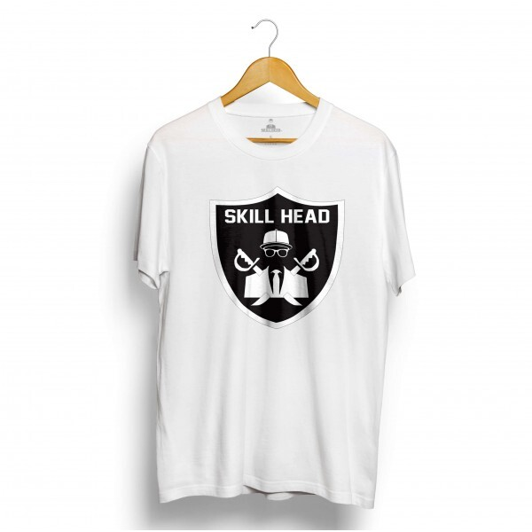 Camiseta Skill Head Escudo Raiders Branco