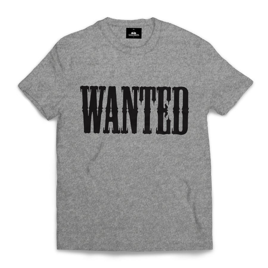 Camiseta Skill Head Wanted Cinza