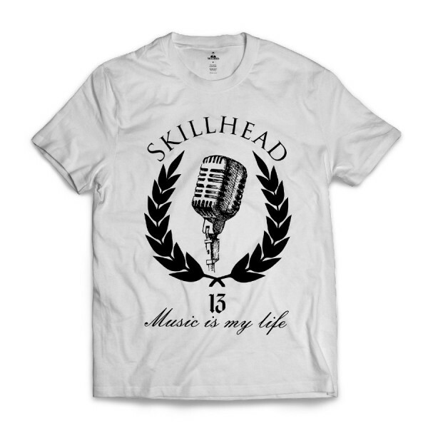 Camiseta Skill Head Microphone Branco