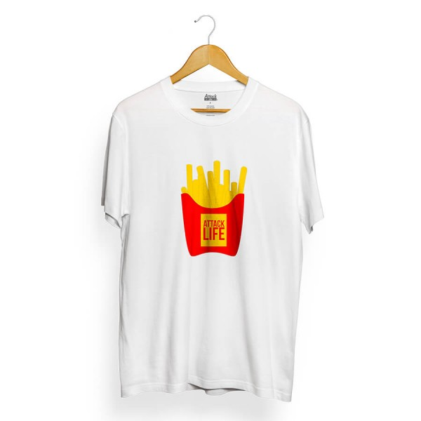 Camiseta Attack Life French Fries Branco