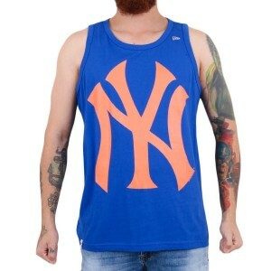 Camiseta New Era Regata New York Yankees Azul Royal/Laranja