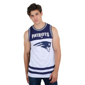 Camiseta New Era Regata New England Patriots Branco/Azul
