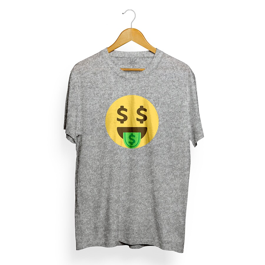 Camiseta Insane 10 Money Emoji Cinza