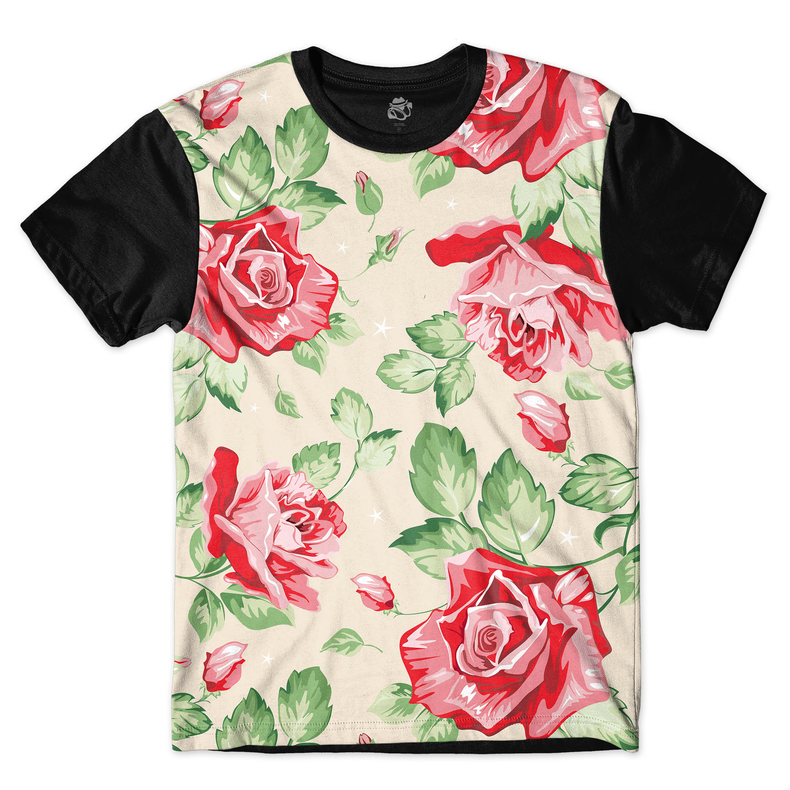 Camiseta BSC Red Roses Full Print Preto