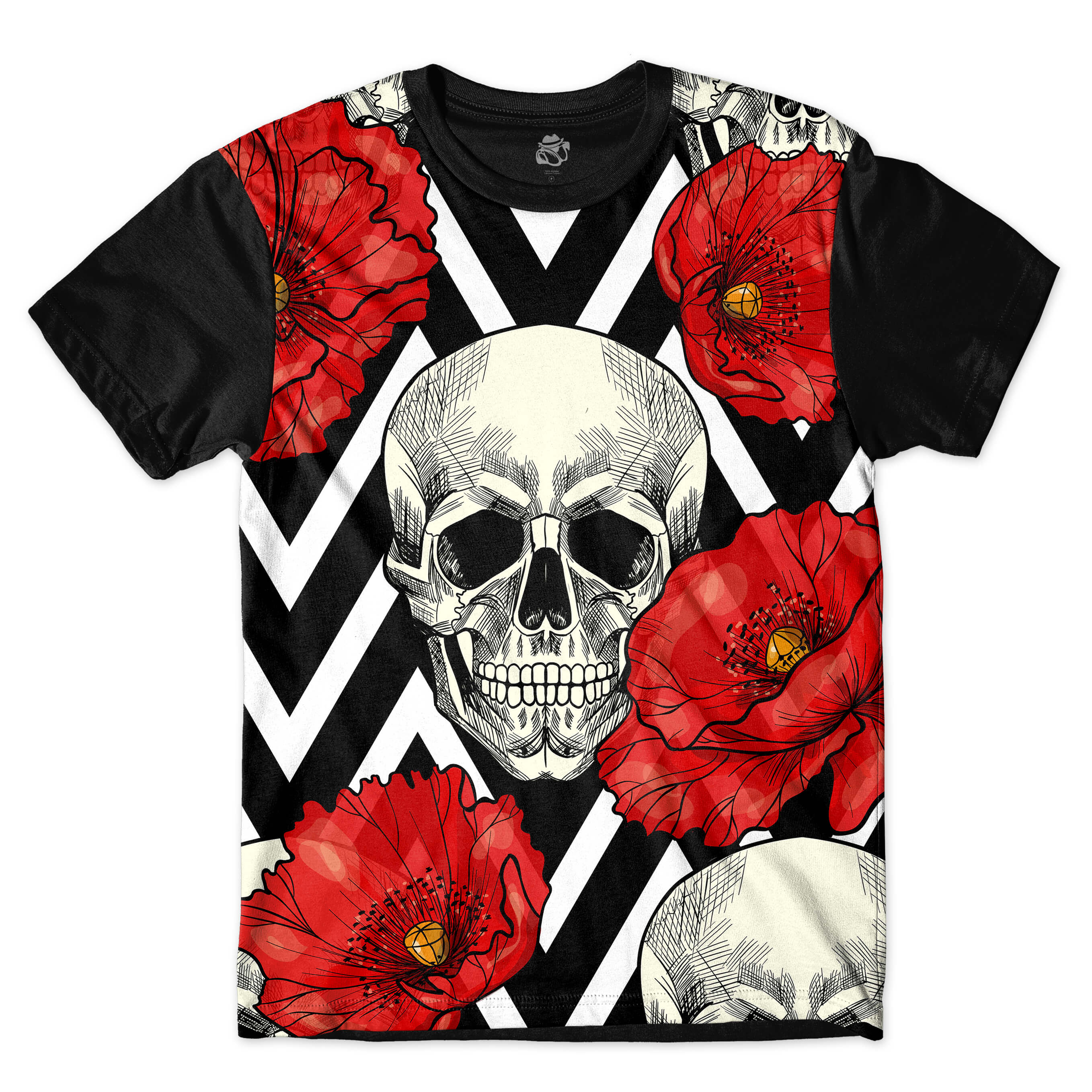Camiseta BSC Skull and Roses Sublimada Preto