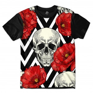 Camiseta BSC Skull and Roses Full Print Preto