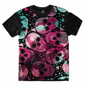 Camiseta BSC Colorful skull Full Print Preto
