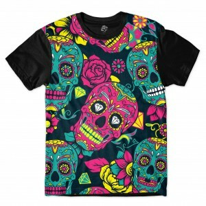 Camiseta BSC Mexican Skull Diamond Sublimada Preto