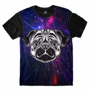 Camiseta BSC Pug color Full Print Preto