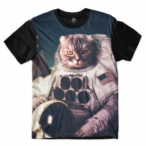Camiseta BSC Cat Space Sublimada Preto