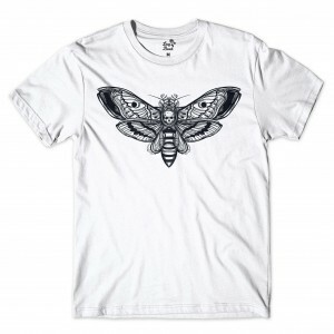 Camiseta Long Beach Butterfly Skull Branco