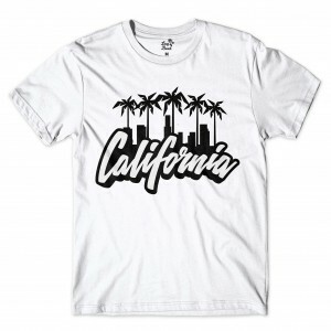 Camiseta Long Beach Cali Coconut Tree Branco