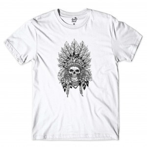 Camiseta Long Beach Cacique Skull Branco