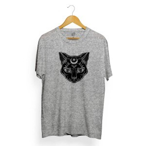 Camiseta Long Beach Moon Cat Cinza