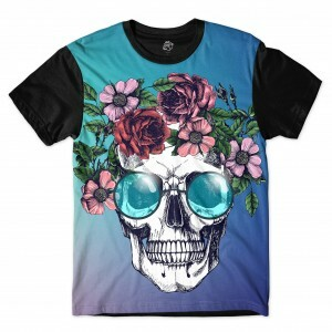 Camiseta BSC Skull Glasses Full Print Preto