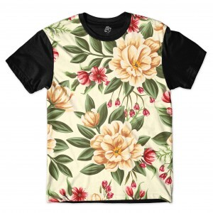 Camiseta BSC Beautiful Flowers Full Print Preto