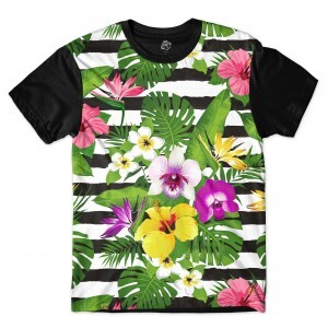 Camiseta BSC Stripe Flowered Full Print Preto
