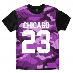Camiseta BSC Chicago 23 Purple Camo Sublimada Preto