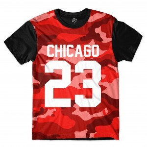 Camiseta BSC Chicago 23 Red Camo Sublimada Preto