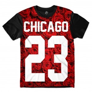 Camiseta BSC Chicago 23 Red Rose Full Print Preto