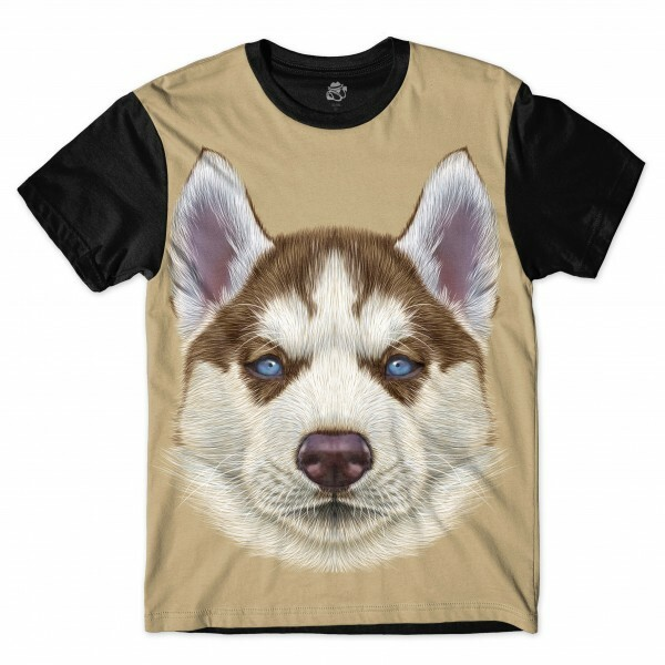 Camiseta BSC Husky Puppy Dog Full Print Preto