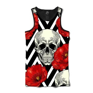 Camiseta BSC Regata Skull and Roses Full Print Preto
